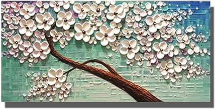 Handgeschilderd Olieverfschilderij - Moderne Abstracte Witte Bloemen Handgeschilderde Mes Olieverf Palet Textuur Boom Kuns...