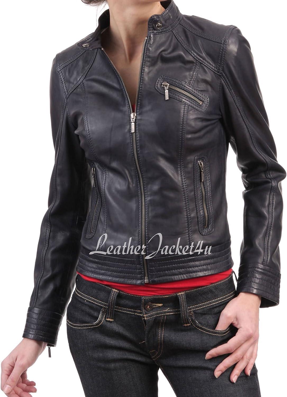 Women's Stylish Genuine Lambskin Leather Jacket 110