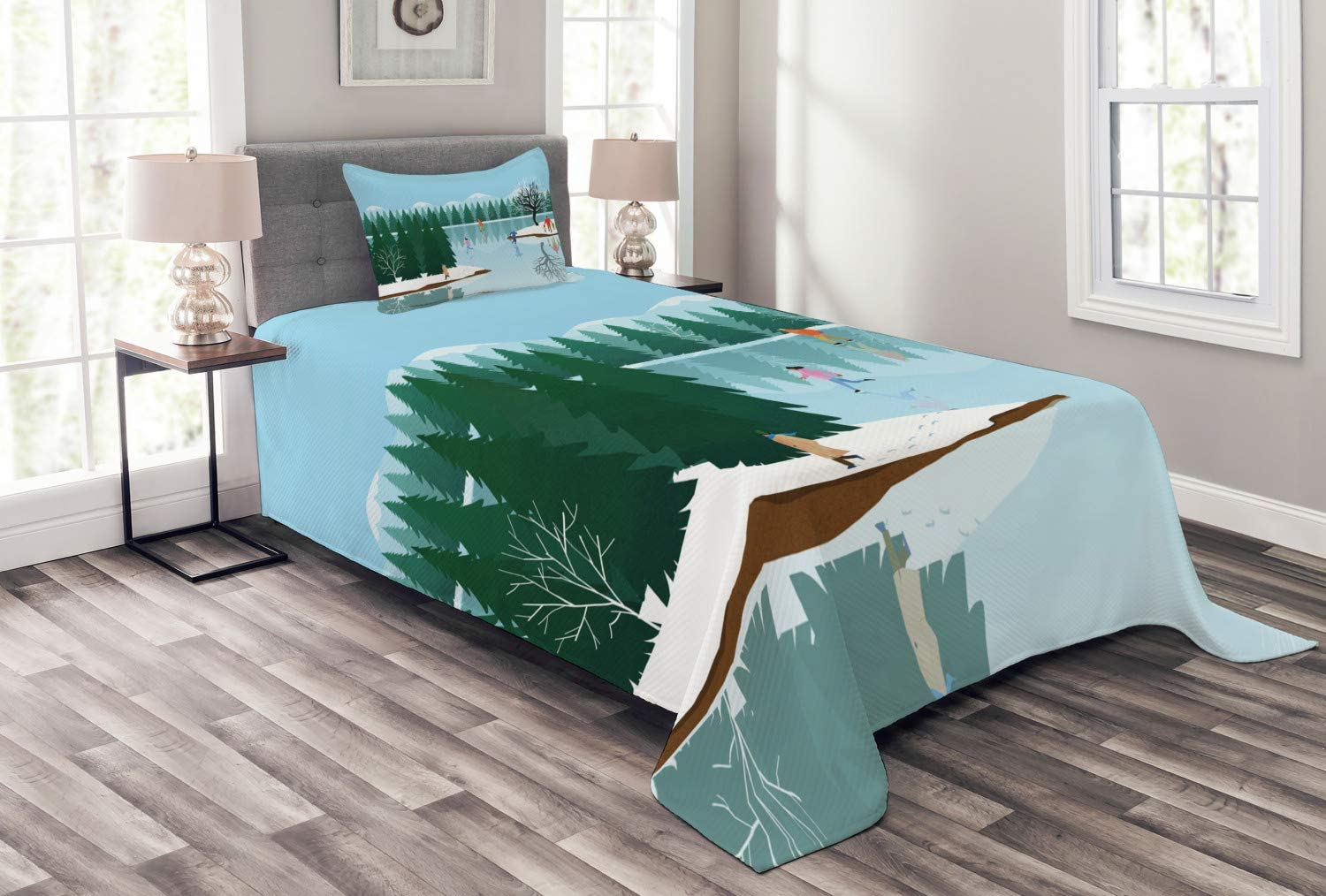 Ambesonne Winter Bedspread Spasm price Frozen Lake Christmas Ice Holiday Ranking TOP14 Sk