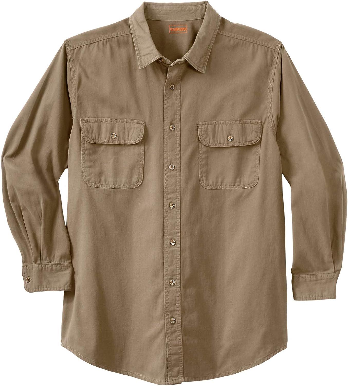 Boulder Creek by Kingsize Men's Big & Tall Long Sleeve Denim and Twill Shirt - Big