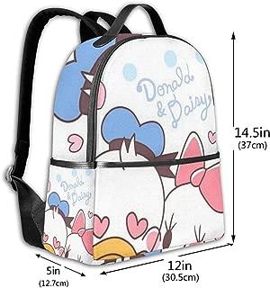 Classic School Backpack Donald and Daisy Unisex College Schoolbag Travel Bookbag Black