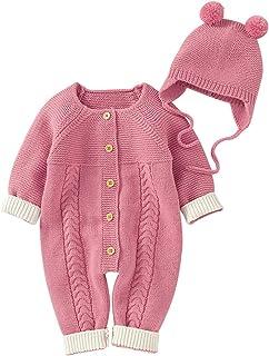 Haokaini Haokaini Neugeborener Strickpullover Strampler Langarm Outfit Outfit mit Warmem Hut Set