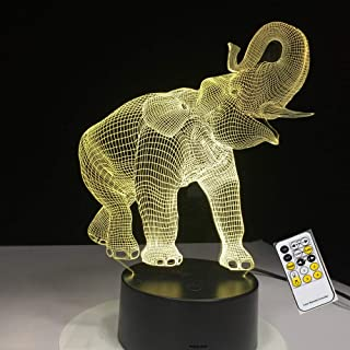 Elefante animal 3D Illusion Lamp - Lámpara de decoración de tres patrones y 7 colores - Regalos perfectos para niños