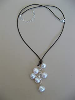 Leather Freshwater Cultured Pearl Cluster Drop Necklace Boho Artisan Jewelry