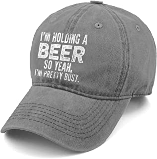 Unisex I'm Holding A Beer So Yeah I'm Pretty Busy Denim Hat Adjustable Washed Dyed Cotton Dad Baseball Caps