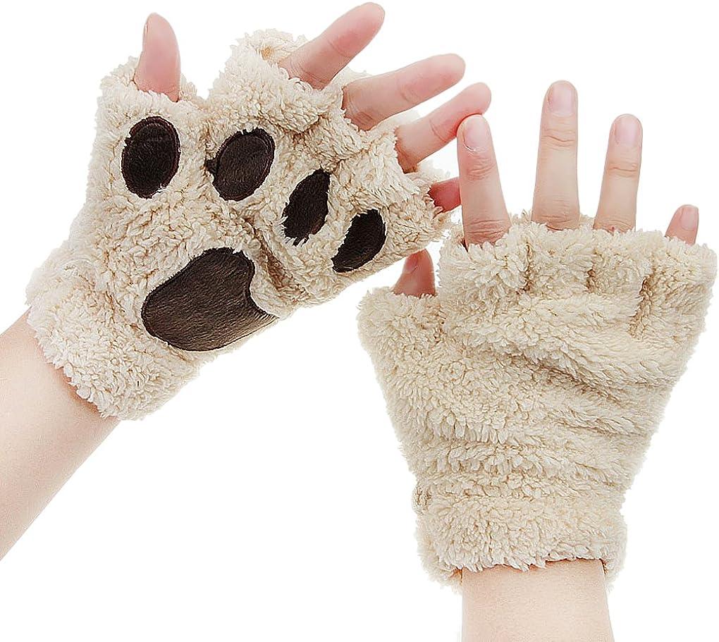 Women Fingerless Cat Paw Gloves Winter Faux Fur Cute Kitten Mittens Bear Plush Claw Soft Gloves