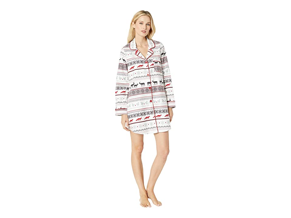 BedHead Pajamas Long Sleeve Classic Notch Nightshirt (American Fairisle) Women
