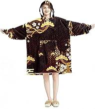 Deken Hoodie, Casual Zachte Microfiber Housecoat, Warm Nachthemd voor Mannen Vrouwen met Traditionele Japanse Boom Bloem P...