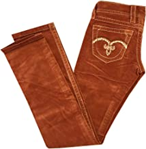 Rock Revival Ladies Slim Straight Burnt Orange/Rust Corduroy Jeans w/Embroidered Back Pockets 28 x 33