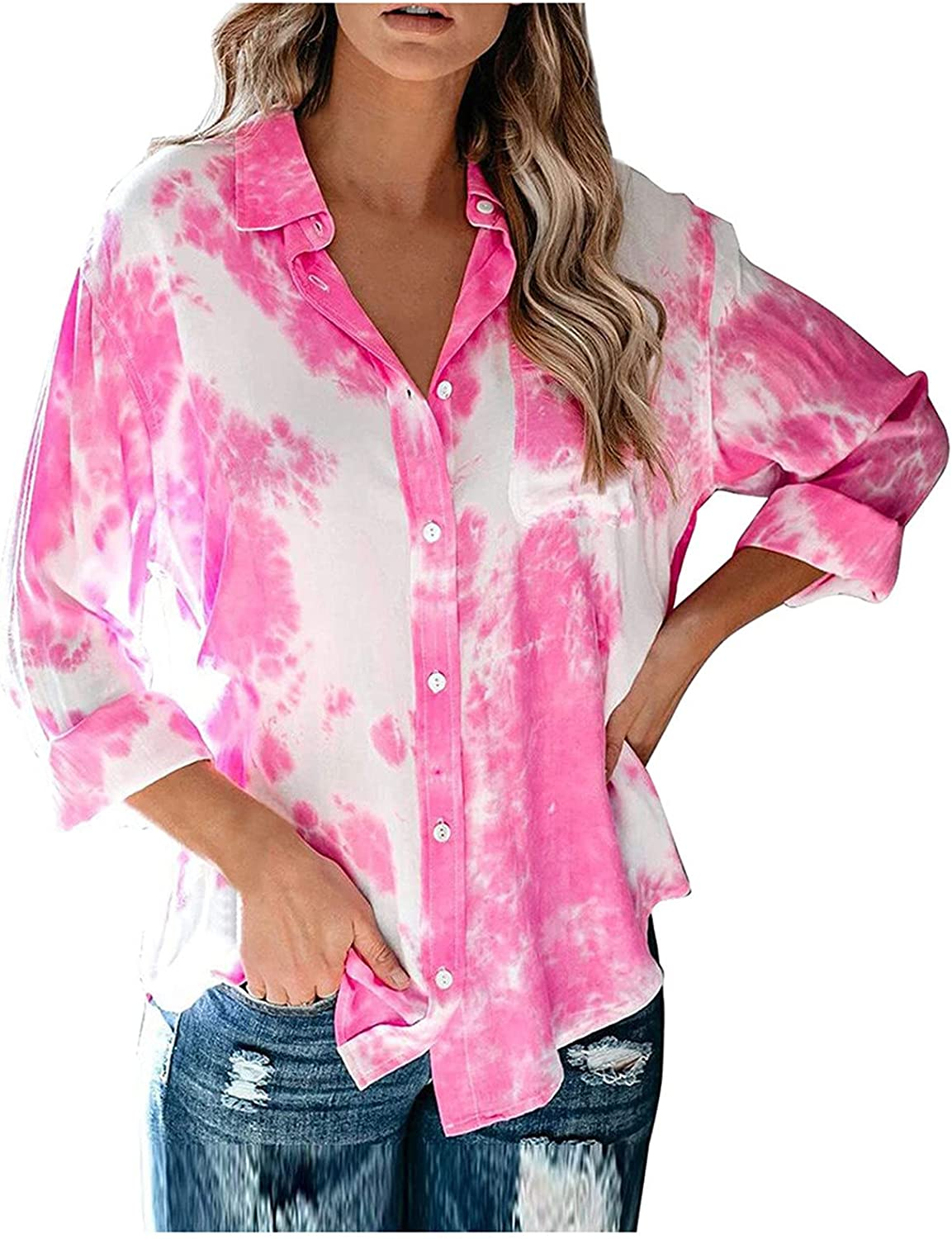 Womens Tops Trendy Tie Dye Print Blouse Turn Down Collar Shirts Long Sleeve T Shirt Button Down Pullover with Pockets