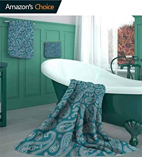 linyangpttowel Paisley 3 Piece Luxury Bamboo Towel Set, Monochrome Pattern Design Pattern Bathroom Set, 1 Bath Towels, 1 Hand Towels, 1 Washcloths/3 Piece Set - S