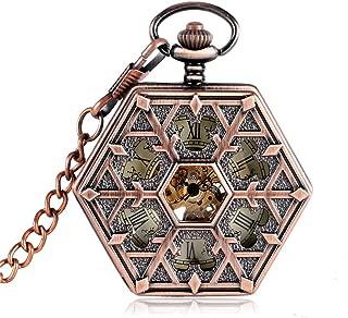 Steampunk Rose Gold Mechanical Pocket Watch for Nurse Hexagon Shape Hand Winding Chain