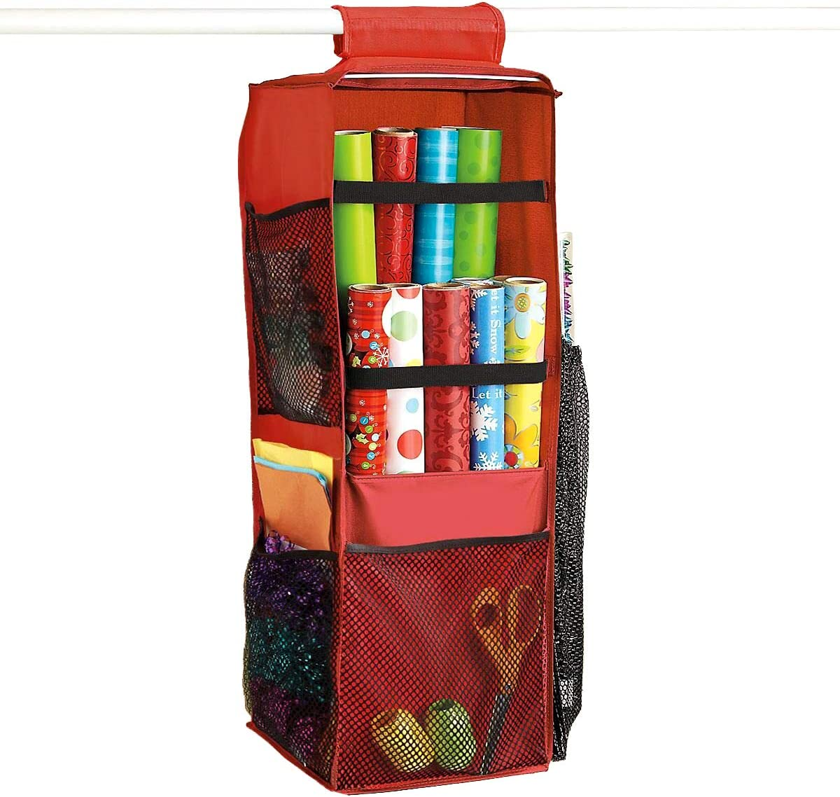 LAMINET Hanging Gift Wrap Max 48% OFF Organizer Super sale period limited - Trim with RED BLACK 10Ã