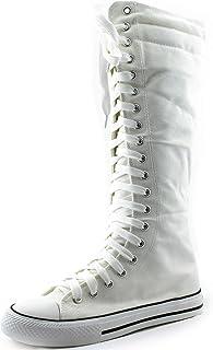 أحذية طويلة برقبة عالية تصل إلى منتصف الساق للنساء طويلة كلاسيكية من القماش الكتاني عالية برباط حذاء رياضي مسطح أنيق