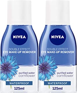 NIVEA Double Effect Eye Makeup Remover, Sensitive Lashes Protection, 125ml, Pack of 2