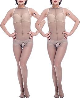 07e3d7c9dd ElsaYX Women s Fullbody Catsuit Crotchless Body Stocking 2PCS