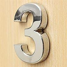 5 cm 3D-nummer 0-9 Sticker Board Logo Hotel Silver House Nummer Plaque Moderne Galvaniseren Huis Woondecoratie Digitaal Hu...