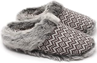 Women's Cashmere Knit Slippers,Faux Fur Memory Foam Indoor Outdoor Shoes
