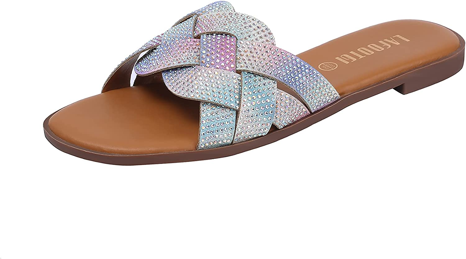 Glitter Rhinestone Square Sandals For Women With Open Toe Summer Casual Slide Shoes