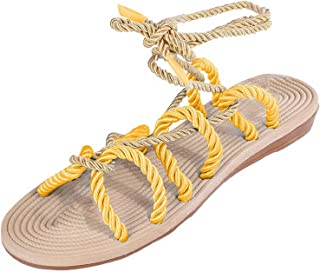 Surprise S Women Sandals Contracted Rome Stagger Hemp Rope Women Sandals Casuals Cross Tied Women Shoes