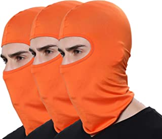 Pack of 3 Winter Outdoor Sport Orange Ski Mask Hunting Fishing Motorcycle Masks Ventilation Sun Balaclava Thin Face Mask