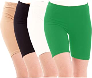 Pixie Biowashed Cycling Shorts for Girls/Women/Ladies Combo (Pack of 4) Beige, Black, White, Green - Free Size