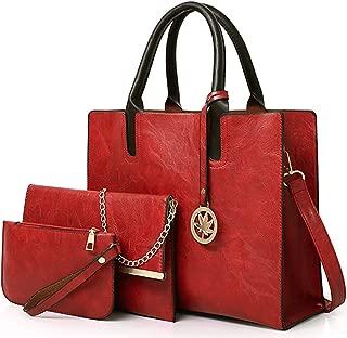 Women Fashion Handbags Tote Shoulder Bags Top Handle Satchel Purse Vegan Leather Handbags Set 3pcs