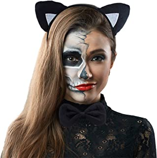 Lux Accessories Halloween Cat Kitty Costume Black Silver Furry Ears Bow Tie Tail