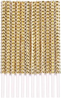 Rhinestone Bling Paper Cake Pop Sticks for Lollipop Cakepop Apple Candy Buffet Treat Party Favor 6 inch (Gold, 24 count)