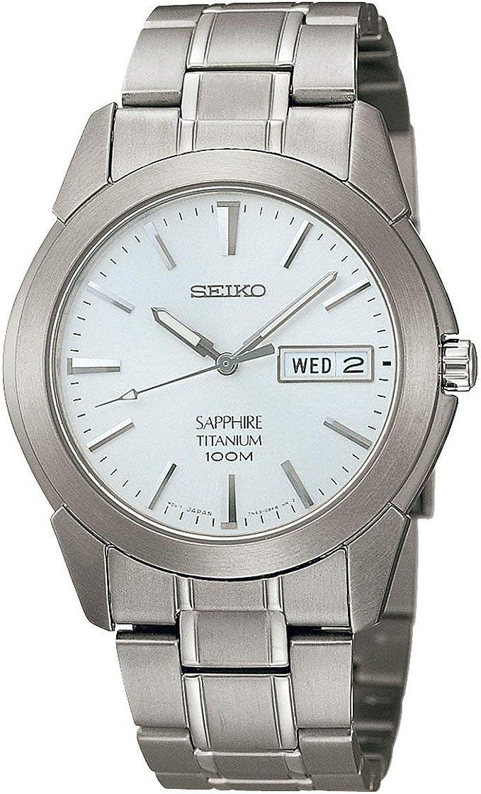 Seiko Reloj Analógico de Cuarzo para Hombre con Correa de Titanio – SGG727P1, plata