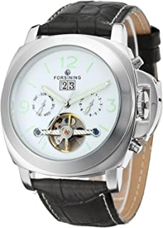 Men's Luxury Style Automatic Self-winding Tourbillon Day Calendar Wrist Watch with Brand Leather Strap FSG005M3S1