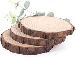 """Pine Wood Slices 4 Pack, 6-6.7"""" for Crafts Cake Stand Art Accent Table Disks Display Name Tags Sign Round"""