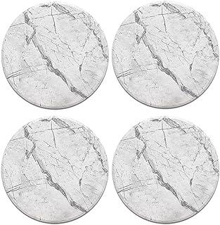 CARIBOU Coasters CB-RDCC-SBRDCECST0001-4-C0184 Caribou Round Ceramic Stone 4pcs Set, Mug Coffee Cup Place Mat Home Coaster...