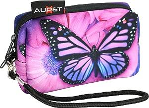 AUPET Purple Butterfly Design Digital Camera Case Bag Pouch Coin Purse with Strap for Sony Samsung Nikon Canon Kodak