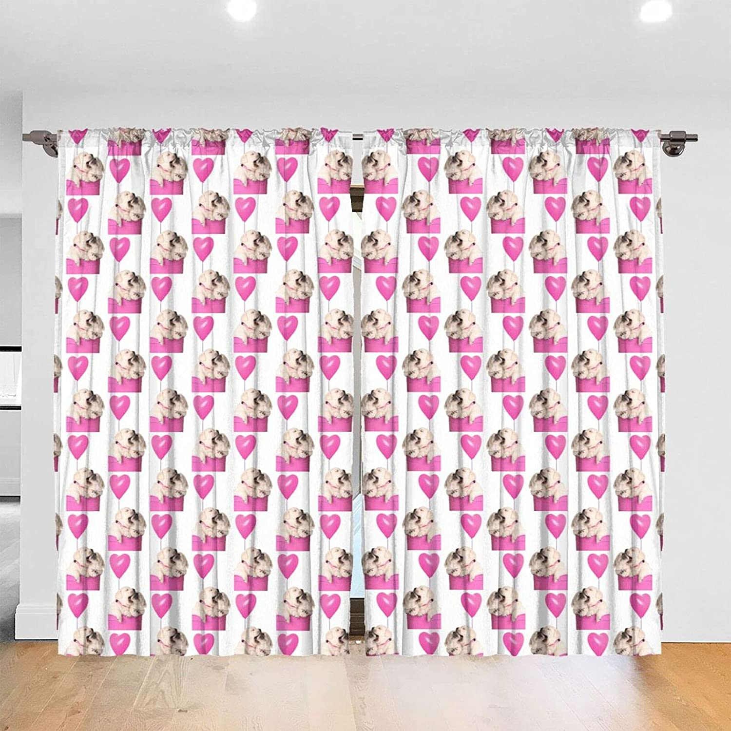 Cute Ranking integrated 1st place Puppy Print Blackout Curtains for Long Bedroom Inch X supreme 84 52