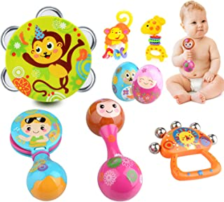 Toddler Musical Instruments Toys, 8PCS Educational Preschool Toys Drum Rattle Maracas Castanets Sand Eggs Shaker Hand Bells for Baby Infant Kids Boys Girls, Random Color and Pattern