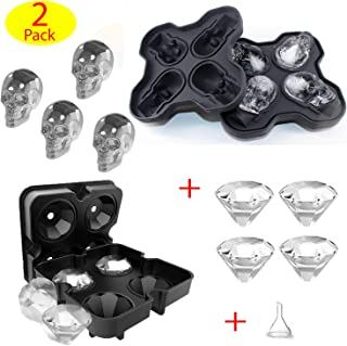 3D Skull Ice Mold Diamond Ice Tray Maker for Drinks Whiskey Cocktails Beverage Beer Juice with 4 Large Skull Ice and 4 Big Diamond Ice, Silicone BPA Free, Easy Release – 2 Sets
