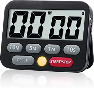 Quickloong Digital Electronic Kitchen Timer, Loud Alarm and Mute Optional, Magnet and Stand, Time Management Tool For Cooking, Classroom Teaching, Kids Timer (Black)