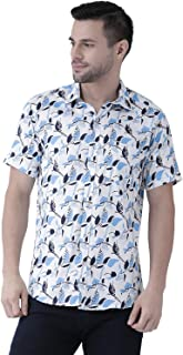 Zeal White Floral Printed Mens Smart Shirt Cotton Casual Regular Fit Half Sleeve Cutaway Collar