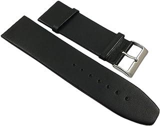 28mm Cuero de Becerro Pulsera de Reloj en Negro con Hebilla en Plata