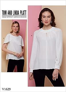 Vogue Patterns-V1629-MISSES-TOP/背心,纸张,白色,多色