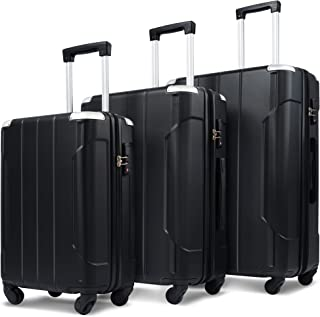 Merax 3 Piece Luggage Sets Expandable ABS Spinner Suitcase with TSA Lock 20 inch 24 inch 28 inch (Black)