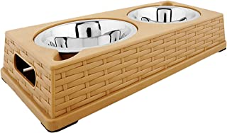 Iconic Pet Color Splash Designer Rattan Double Diner, Stainless Steel Pet (Dog/Cat) Feeding Bowls with Wicker Finish, Anti-Skid Bottom with 28 oz Capacity