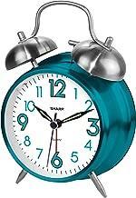 Sharp SPC851 Twin Bell Alarm Clock, Teal