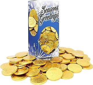 Seasons Greetings Chocolate Gold Coins, Nut-Free, Belgian Milk Chocolate Coins, 1LB, OU-D Kosher Gelt (Single)