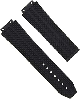 25MM RUBBER WATCH STRAP BAND FOR HUBLOT FUSION TITANIUM H BIG BANG 44-45MM BLACK