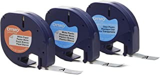 DYMO LetraTag Labeling Tape for LetraTag Label Makers, Black print on White Paper, White Plastic and Clear plastic tapes, ...