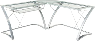 Amazon Com Flash Furniture Glass L Shape Desk With Pull