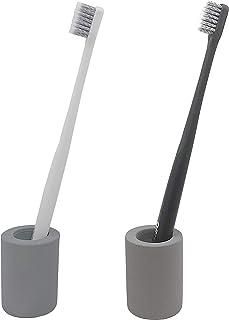 Keypro Diatomite Toothbrush Holder, Water Absorbency, Makeup Brush/Pen/Razor Stand, Home Decoration(Grey, 2pcs)