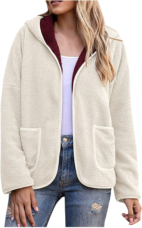 Rovga Women Oversized Sherpa Hoodie Fuzzy Fleece Jacket Zip Up Patchwork Outerwear Coat with Pockets